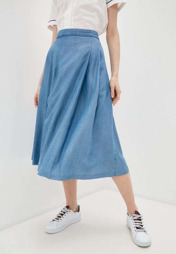 женская юбка-трапеции united colors of benetton, голубая