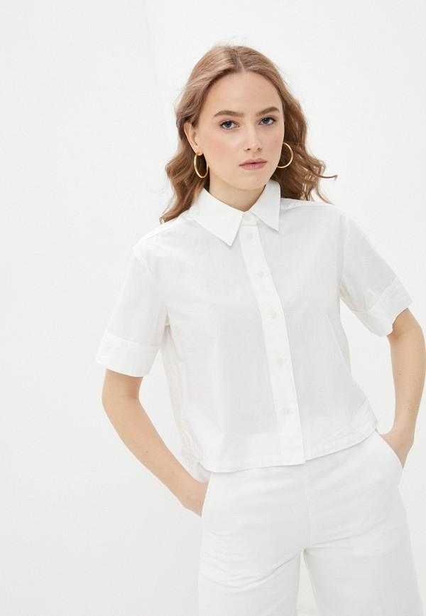женская рубашка с коротким рукавом united colors of benetton, белая