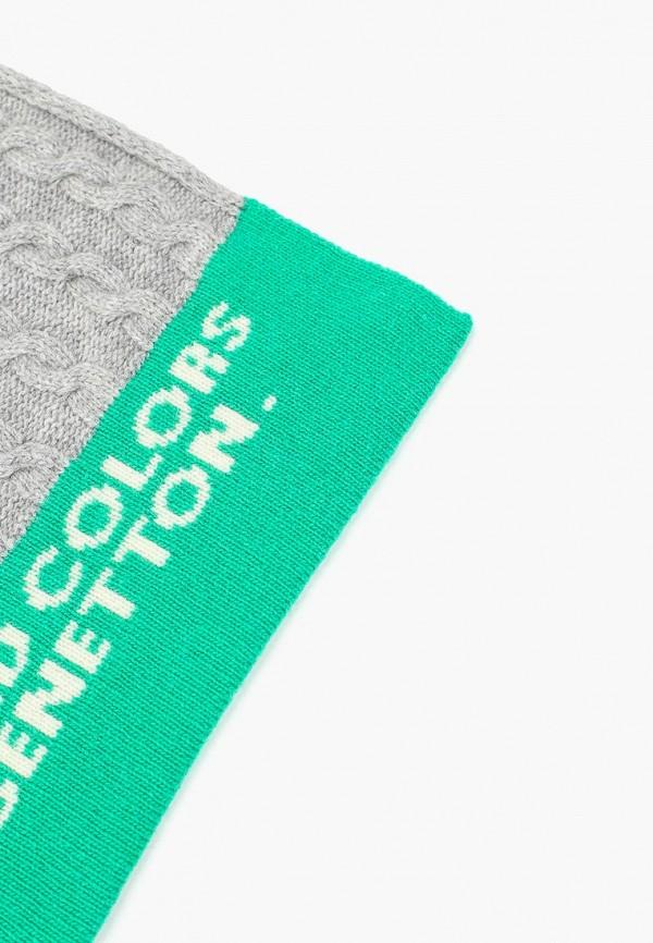 Фото 2 - женский шарф United Colors of Benetton серого цвета