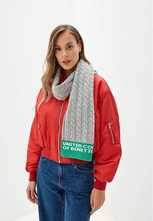 Фото 3 - женский шарф United Colors of Benetton серого цвета