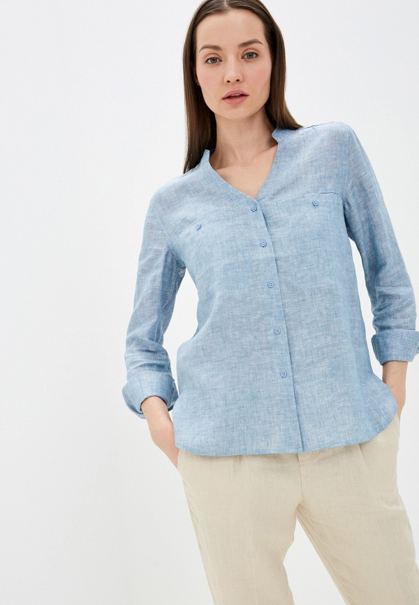 женская блузка с длинным рукавом unq, голубая