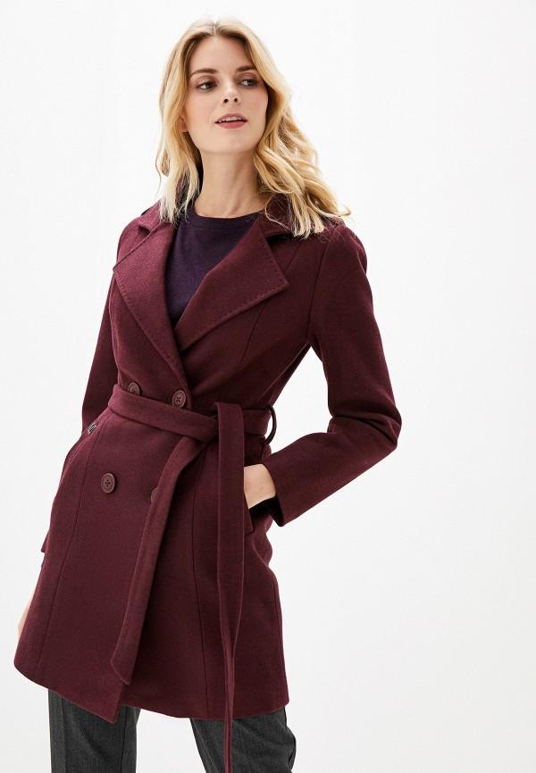 Фото - Женское пальто или плащ Vagi бордового цвета