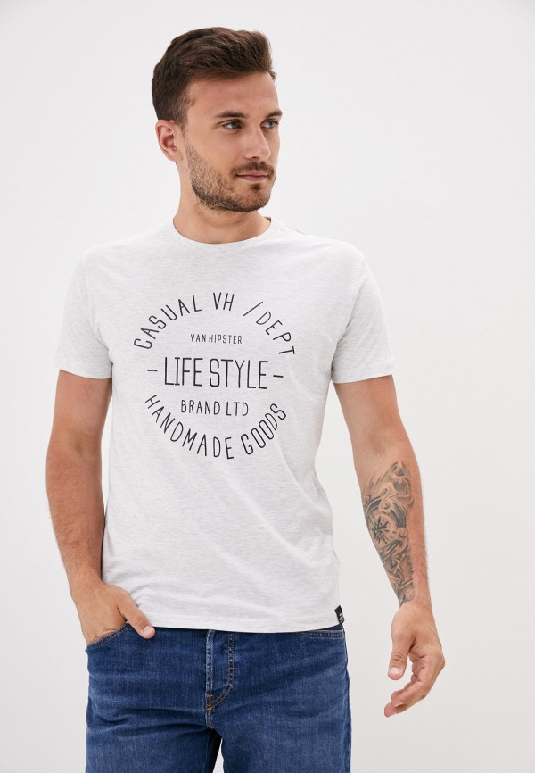 мужская футболка с коротким рукавом van hipster, серая