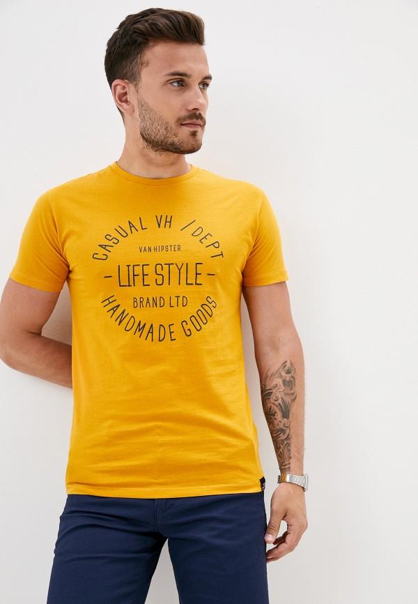 мужская футболка с коротким рукавом van hipster, желтая