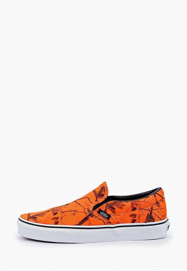 женские слипоны vans, оранжевые