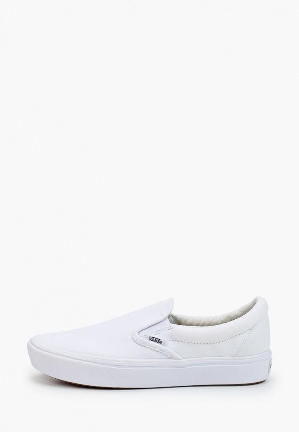 женские слипоны vans, белые
