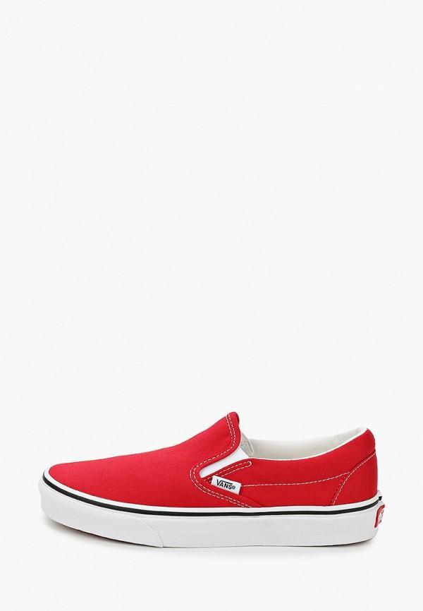 женские низкие слипоны vans, красные
