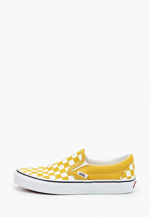 женские слипоны vans, желтые