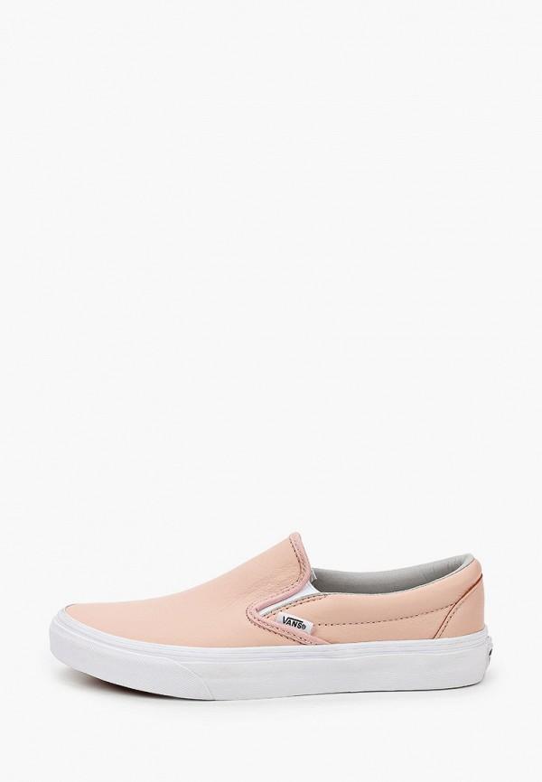женские слипоны vans, розовые