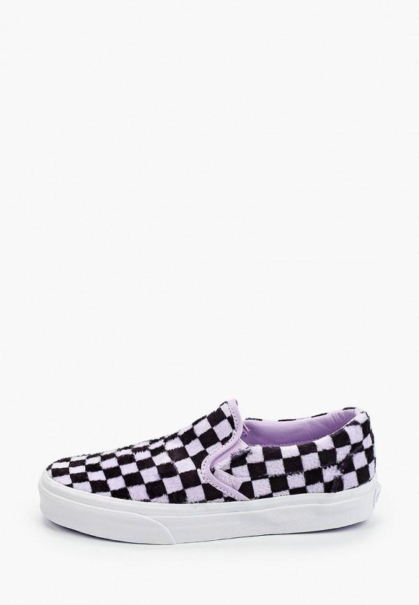 женские низкие слипоны vans, фиолетовые