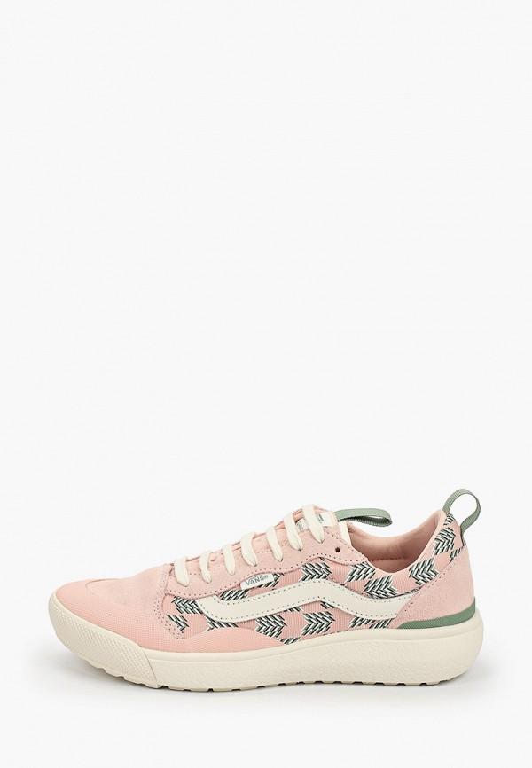 женские низкие кроссовки vans, розовые