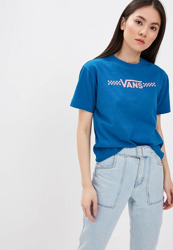 женская спортивные футболка vans, синяя