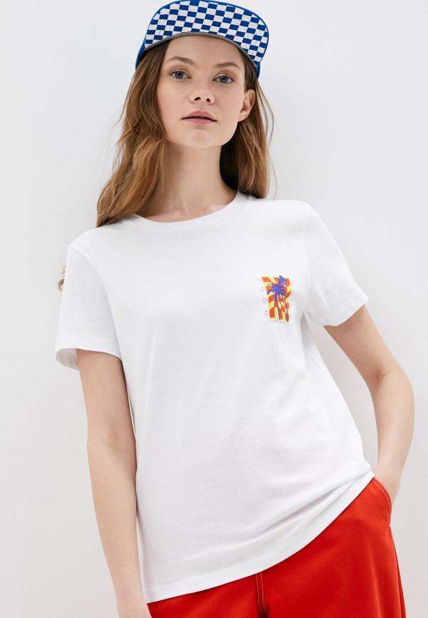 женская спортивные футболка vans, белая
