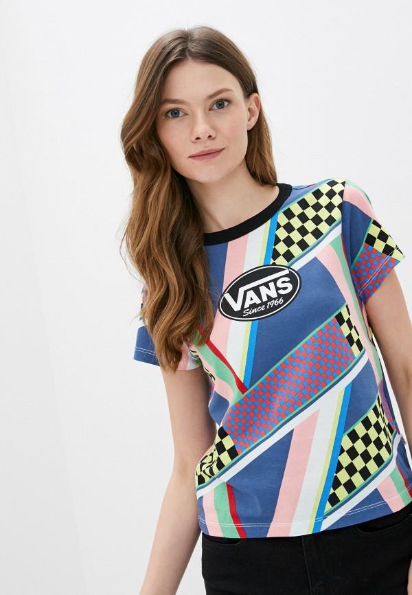 женская спортивные футболка vans, разноцветная