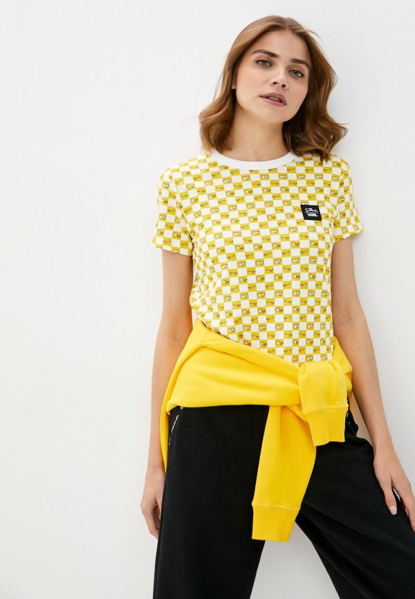женская спортивные футболка vans, желтая