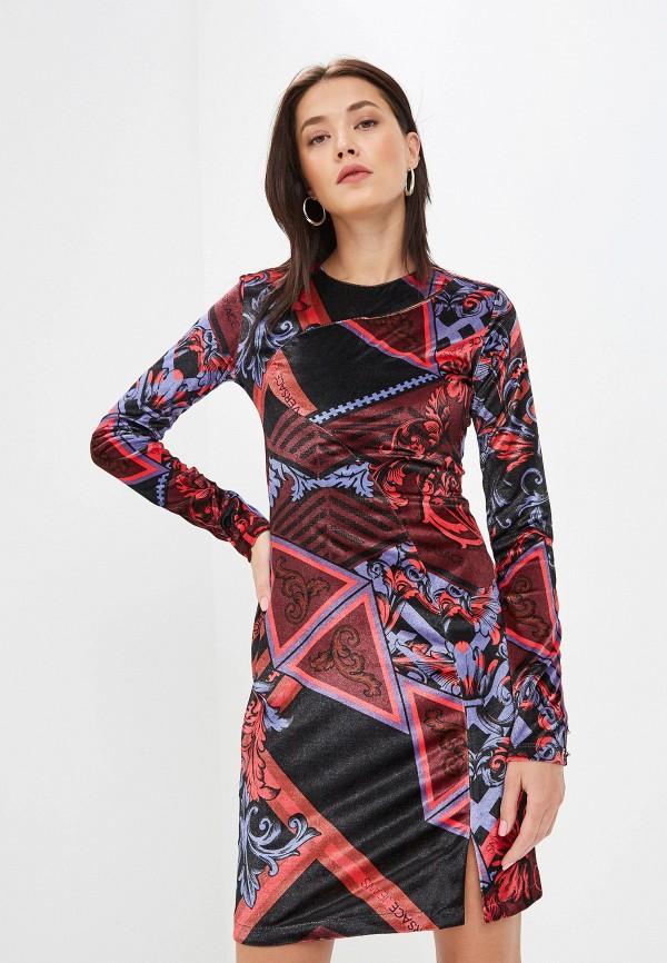 женское платье-футляр versace, разноцветное