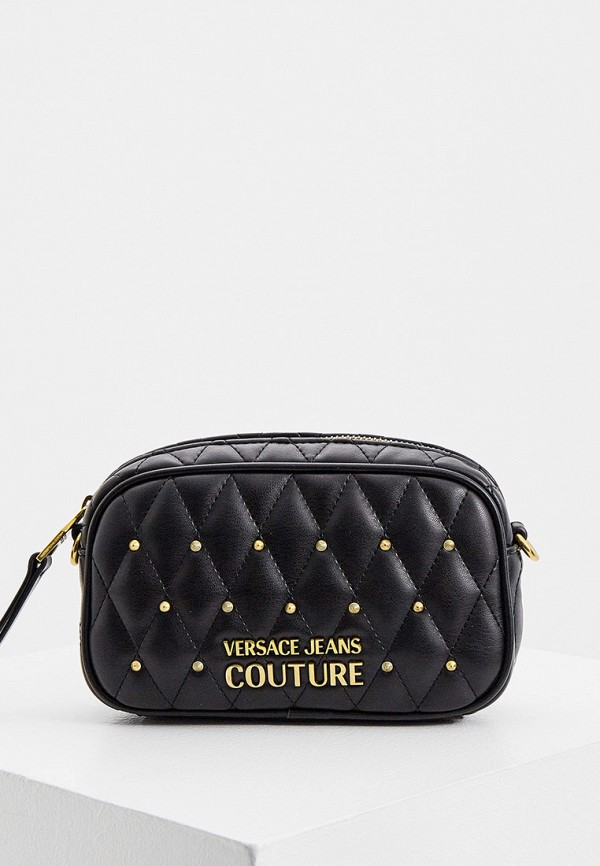 женская сумка через плечо versace, черная