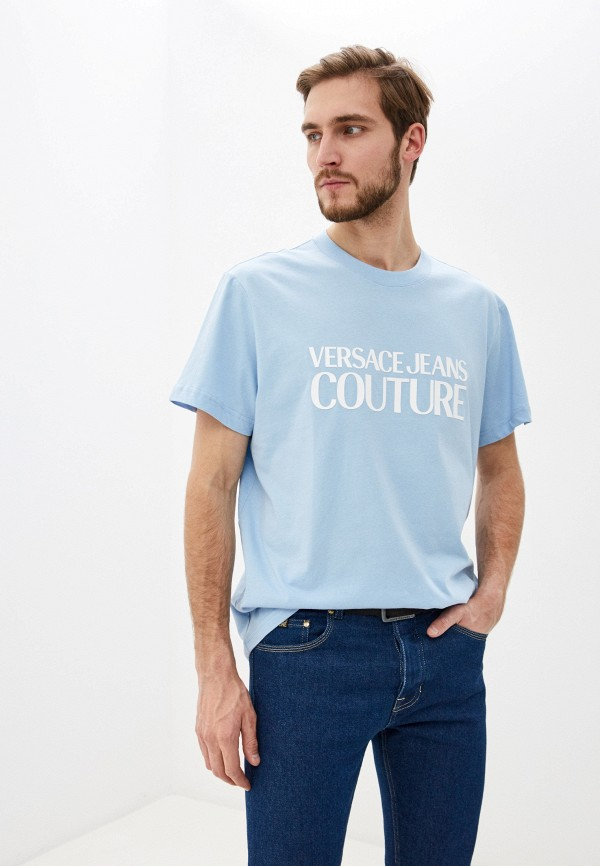мужская футболка versace, голубая