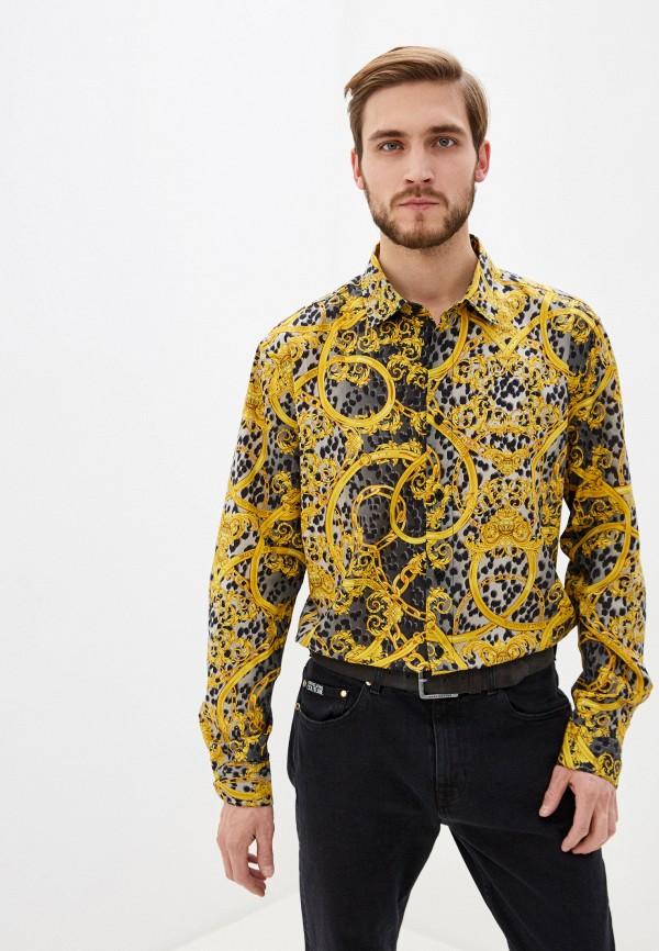 мужская рубашка с длинным рукавом versace, желтая