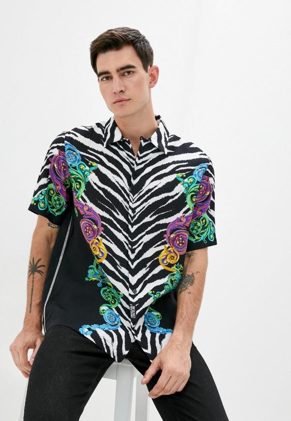 мужская рубашка с коротким рукавом versace, разноцветная