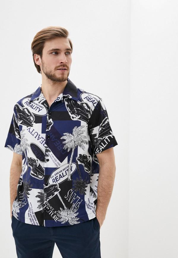 мужская рубашка с коротким рукавом versace, синяя