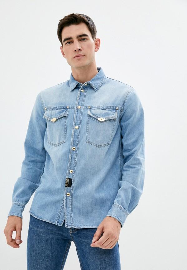 мужская джинсовые рубашка versace, голубая