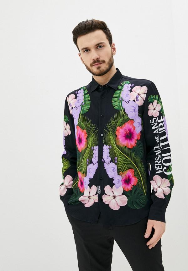 мужская рубашка с длинным рукавом versace, черная