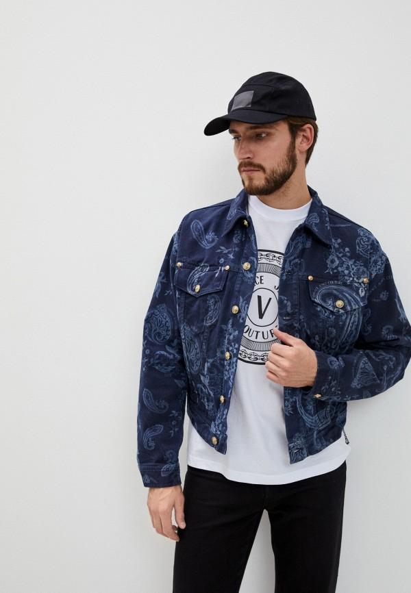 мужская джинсовые куртка versace, синяя