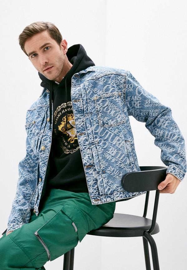 мужская джинсовые куртка versace, голубая