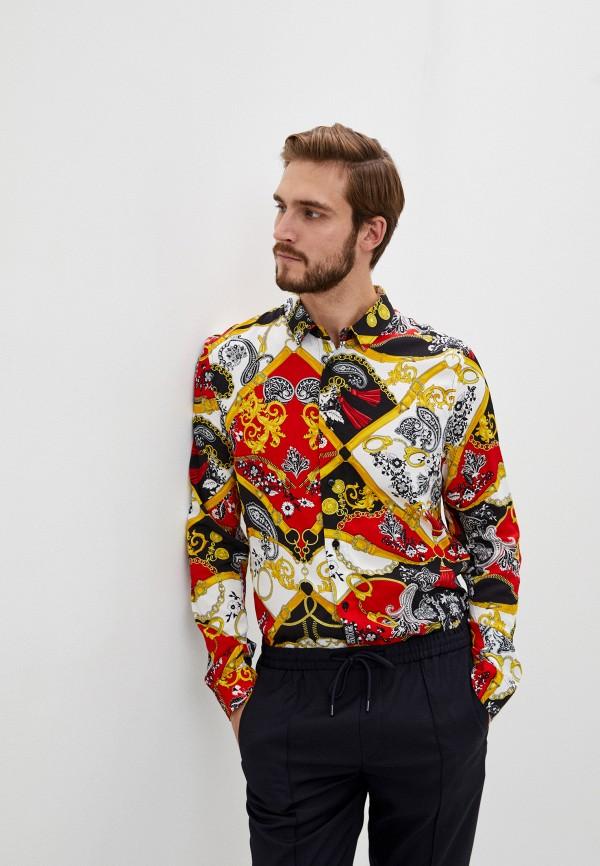 мужская рубашка с длинным рукавом versace, разноцветная