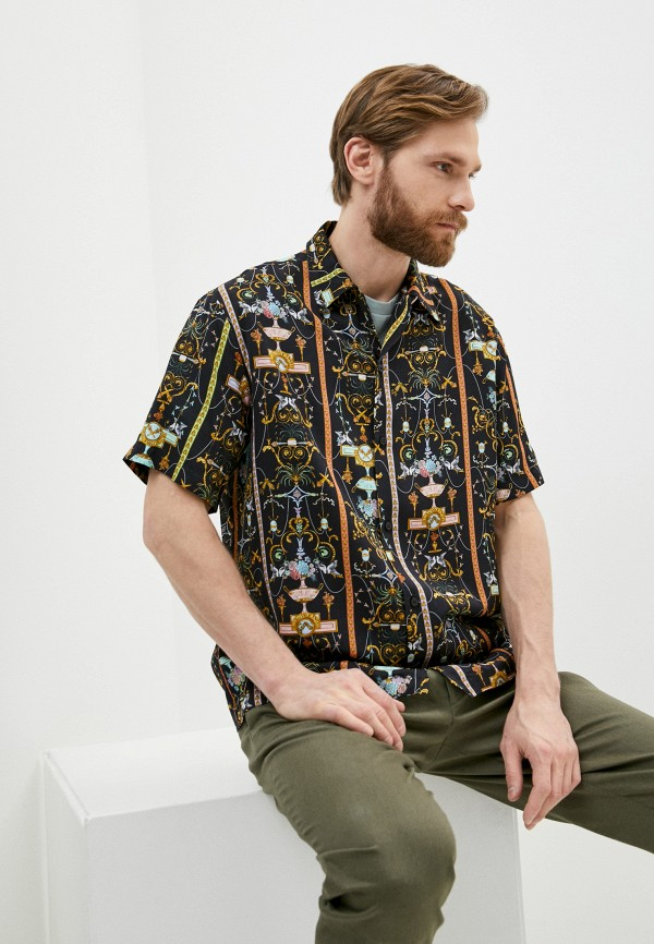 мужская рубашка с коротким рукавом versace, черная