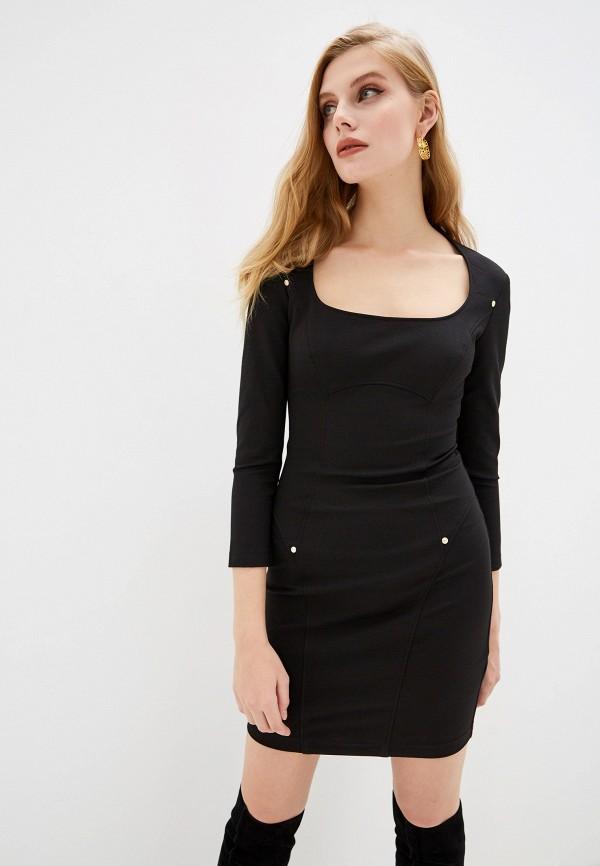 женское платье-футляр versace, черное