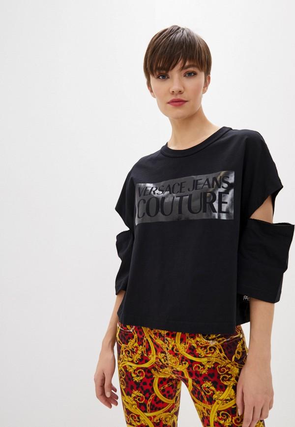 женская футболка versace, черная