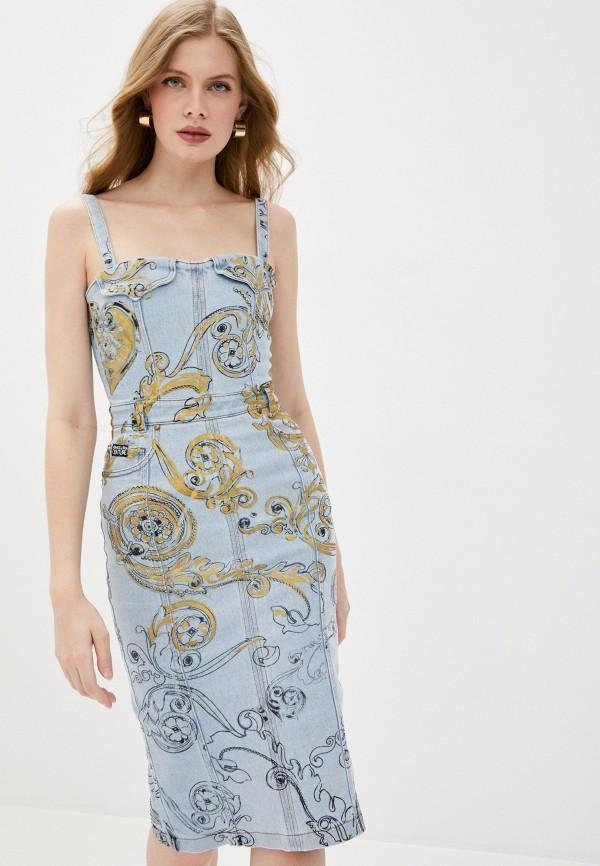 женское джинсовые платье versace, голубое