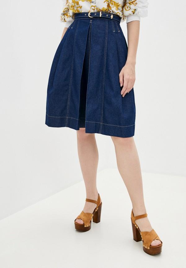 женская джинсовые юбка versace, синяя