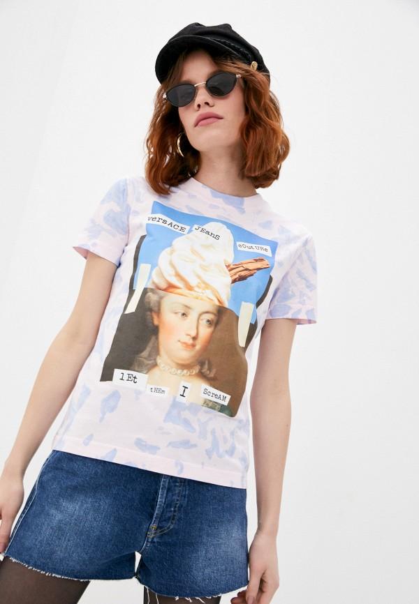 женская футболка versace, розовая