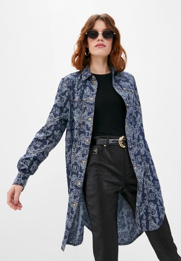 женская джинсовые рубашка versace, синяя