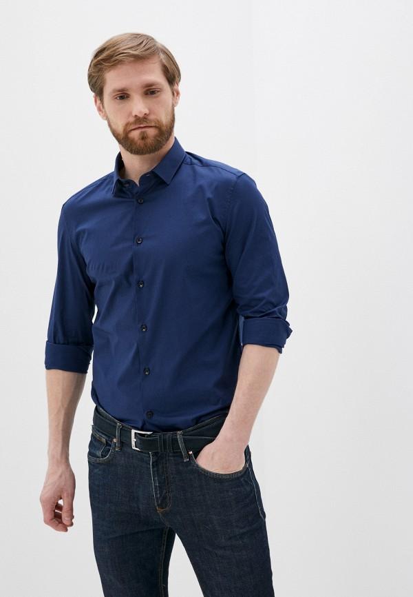 мужская рубашка с длинным рукавом versace, синяя