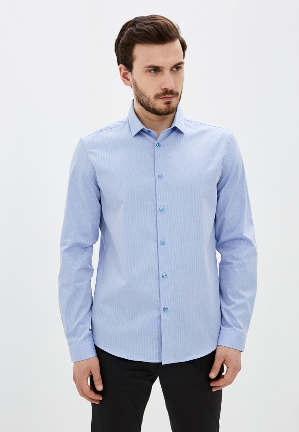 мужская рубашка с длинным рукавом versace, голубая