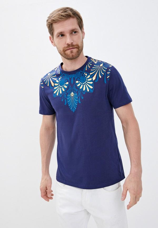 мужская футболка с коротким рукавом versace, синяя