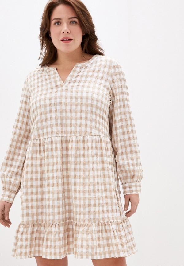 женское повседневные платье vero moda curve, бежевое