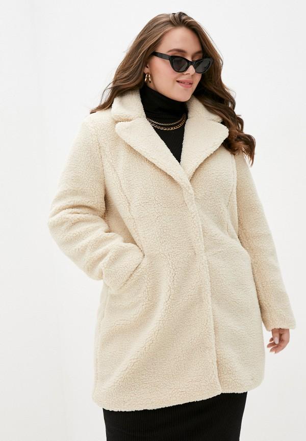 женская шуба vero moda curve, белая