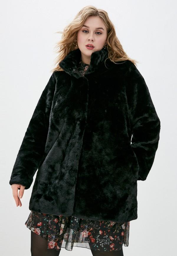 женская шуба vero moda curve, черная