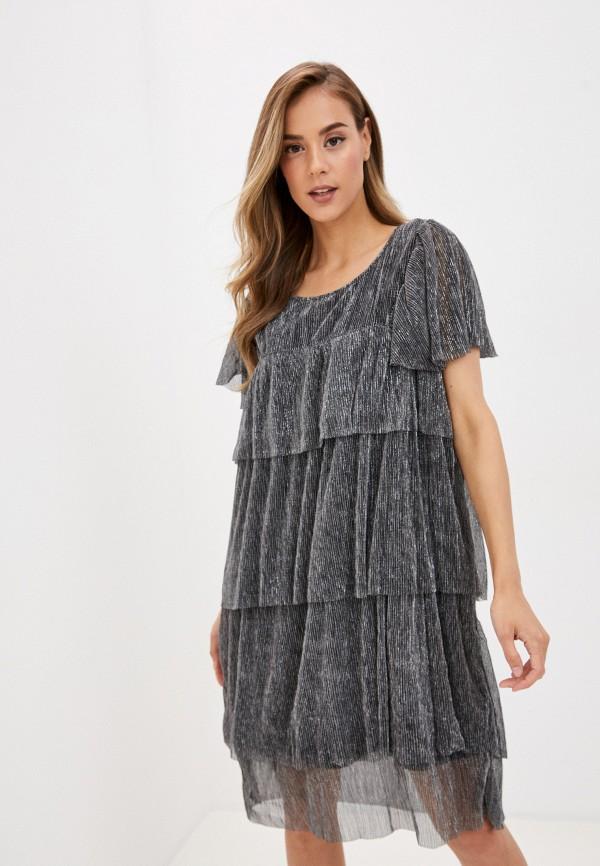 женское вечерние платье vero moda curve, серебряное