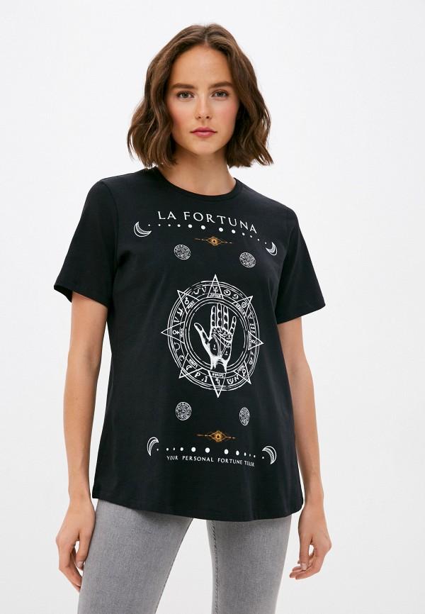 женская футболка vero moda curve, черная