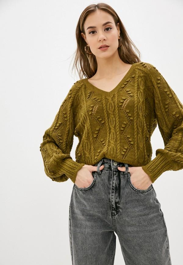 женский джемпер vero moda curve, зеленый