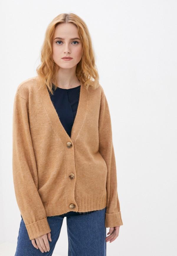 женский кардиган vero moda curve, коричневый