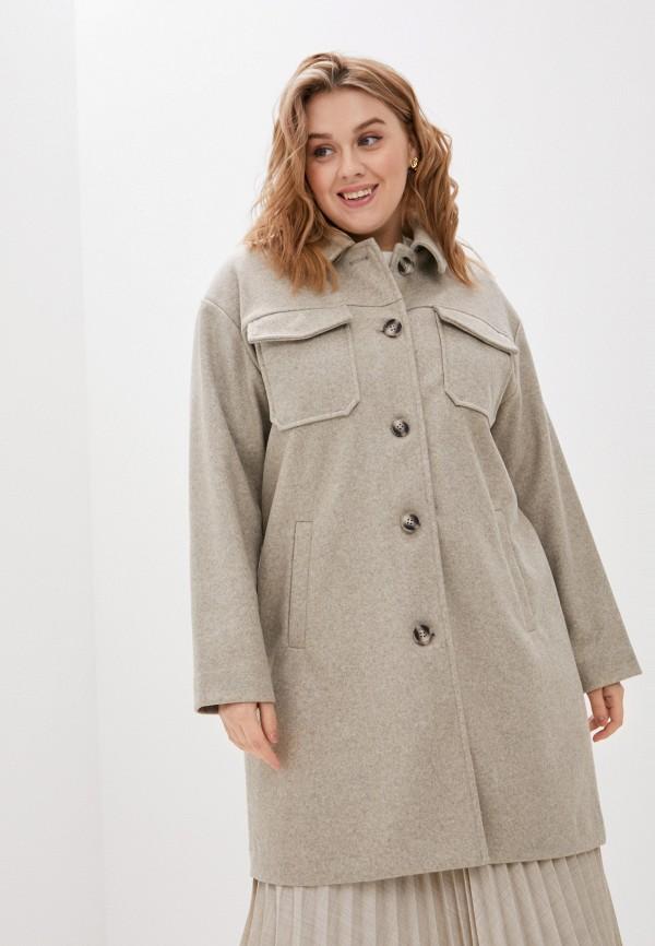 женское пальто vero moda curve, бежевое