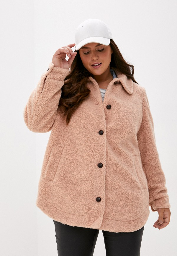 женская шуба vero moda curve, розовая
