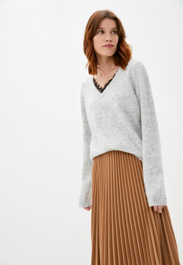 женский пуловер vero moda curve, серый